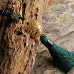 琳福珠宝   中国风镀金掐丝珐琅金珀绿松石吊坠项链  掐丝香囊