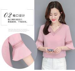 春夏新款韩版时尚打底衫洋气质雪纺上衣女蕾丝内搭遮肚子