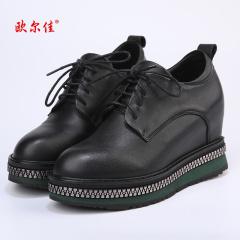 欧尔佳牛皮内增高防水台系带黑色皮鞋J670-1