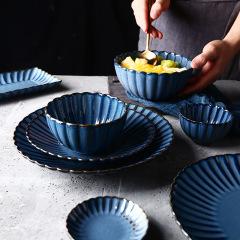 福辰日式复古餐厅家用厨房陶瓷套装餐具 墨迹花瓣碗