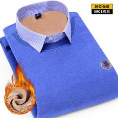 冬季新款针织衫加绒保暖衬衫男士休闲假两件刺绣加厚毛衣打底衫男
