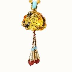 琳福珠宝  永恒的爱蜜蜡毛衣链长款琥珀项链