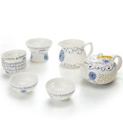 金镶玉 功夫茶具 玉玲珑镂空套组 青花瓷陶瓷茶具整套