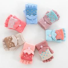 两双装 冬季儿童手套半指翻盖男童女童中大童小学生保暖可爱小孩写字五指
