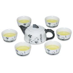 金镶玉 功夫茶具 雪花釉墨竹套装 陶瓷茶壶茶杯整套