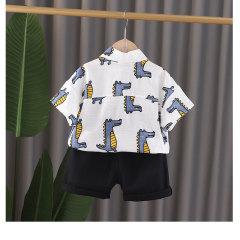 菲儿小屋夏季男童套装短袖儿童开衫满身鳄鱼图案衬衫短袖两件套潮