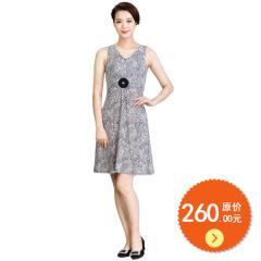 N.L无袖褶皱印花连衣裙 货号110881