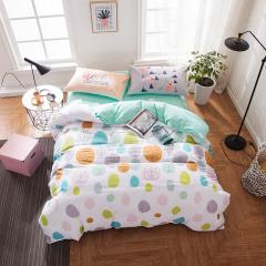 【VIPLIFE家纺 清新文艺全棉四件套纯棉床单被套 活性喷气印染床品套件】