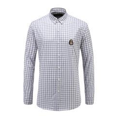 男士长袖浅色格子休闲衬衫纽扣翻领商务衬衫 23635109