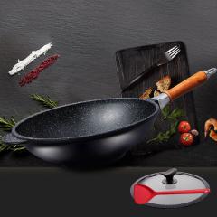 SIRONI-意大利进口磐石不粘锅32CM木柄炒锅主厨系列系列铸造锅