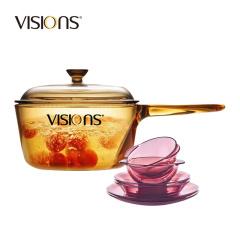 康宁晶彩透明单柄锅+紫色餐具VSP15+CWP6