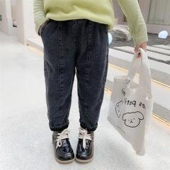 2020女童牛仔裤秋冬新款儿童装宽松长裤小宝宝洋气加绒裤子秋装潮
