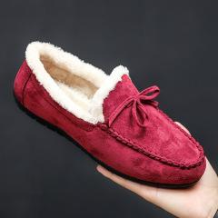 冬季保暖棉鞋男士豆豆鞋加绒加厚韩版休闲鞋懒人一脚蹬驾车鞋M10