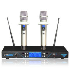 韩国现代 专业无线电容麦克风 一拖二话筒网络k歌唱吧KTV舞台会议