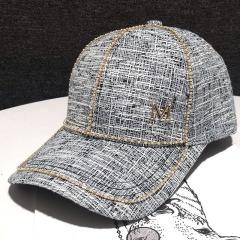 水钻硬顶鸭舌帽女小众潮牌珠珠网红款ins时尚韩版棒球帽米色帽子M5