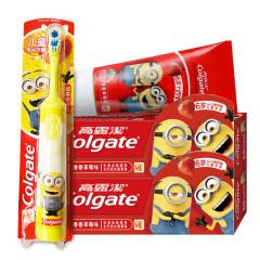 高露洁(Colgate)6岁以上妙妙刷小黄人儿童牙膏70g*2+宝宝电动牙刷*1