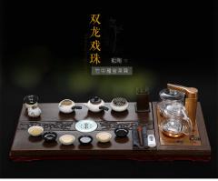 金镶玉 双龙戏珠瑰宝套组 实木茶盘陶茶具自动电热炉整套