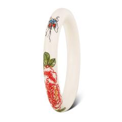 花开富贵猛犸象牙圆条手镯