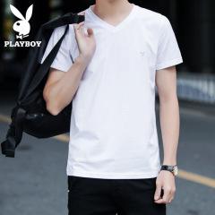 花花公子潮男士韩版修身弹力棉短袖T恤衫男