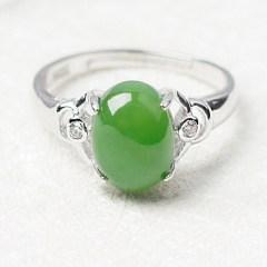 琳福珠宝  S925纯银镶嵌和田碧玉戒指