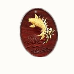 琳福珠宝 连年有余小叶紫檀 足金镶嵌吊坠连年有余项坠
