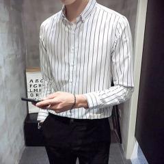 2020新款衬衫男长袖韩版衬衣潮流男装潮牌男士春夏休闲条纹衬衫男