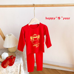 童装新年儿童红色家居服套装女童宝宝卡通牛年红内衣莱卡秋衣秋裤
