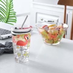 鼎匠ins网红爆款吸管杯+沙拉碗创意果汁杯儿童早餐杯带盖玻璃刻度量水杯