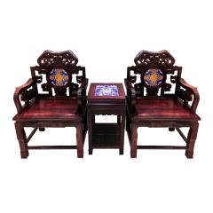 黑酸枝镶嵌景泰蓝太师椅
