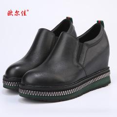 欧尔佳牛皮内增高真皮女鞋J671-1