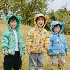 儿童羽绒服印花耳朵中小童装男女宝宝加厚外套