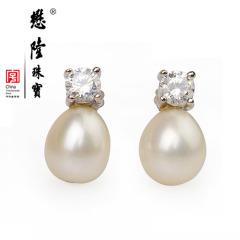 懋隆水滴椭圆形无暇强光淡水白珍珠锆石银耳钉女款礼物正品