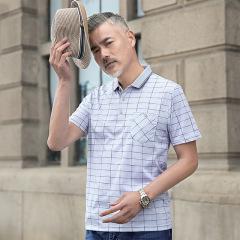 中年男士短袖t恤夏季男装真口袋宽松翻领爸爸装40-50岁休闲上衣服