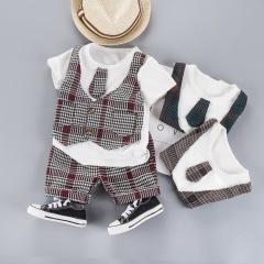 菲儿小屋2020夏季新品0-1-2-3-4男宝宝帅气假马甲短袖两件套