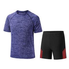 夏季新品运动套装男阳离子速干运动套装健身跑步套装跨境男士套装