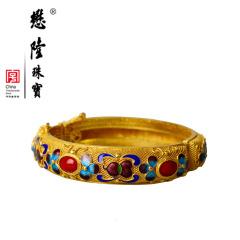 懋隆S925银饰镀金手工花丝镶嵌烧蓝花朵葫芦红色有机宝石手镯民族