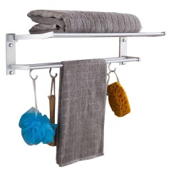 免打孔浴室毛巾架太空铝卫生间置物架五金浴室挂件