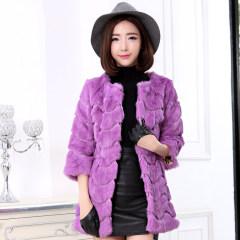 瑷美天使2016冬装兔毛皮草外套女中长款大衣韩版女装修身