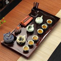 金镶玉 茶具套装 财源滚滚汝窑西施 檀木实木茶盘陶瓷茶具茶壶茶杯整套
