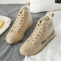 贝贝女鞋2019冬季新款时尚个性潮流女鞋轻便高帮帆布鞋