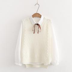 秋新款衬衫+毛衣后背系带马甲学生针织背心上衣两件套潮