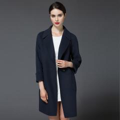 丁摩新款双面呢羊毛大衣毛呢外套大衣80230