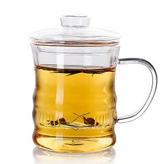 透明竹节玻璃茶杯 耐热内置过滤内胆玻璃花茶杯三件套