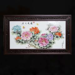 中艺盛嘉收藏品国色天香瓷板画特色送礼收藏