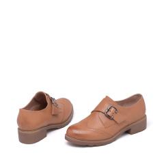 达芙妮(DAPHNE)真皮英伦环扣厚底巴洛克舒适低跟平跟女单鞋1016404031