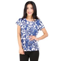 J.K藏青色印花圆领T恤 货号111375