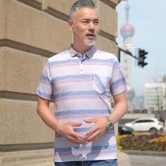 男士桑蚕丝短袖T恤中年男翻领半袖冰丝大码t恤中老年上衣夏季