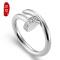 熙益 s925银戒指开口螺丝钉子戒指镶锆石韩版个性女式时尚潮流达人指环 白金色开口