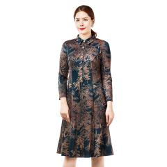 袯荟浓郁森林衬衫领优雅连衣裙