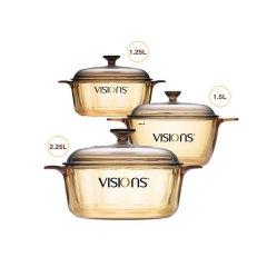 康宁 (VISIONS) 晶彩透明锅 VS15+VS12+VS22·琥珀色